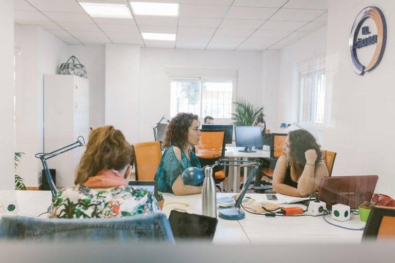 Zona de coworking en Málaga